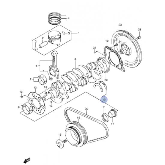 Metales Axiales Cigueñal Motor M13  Estandar Japon